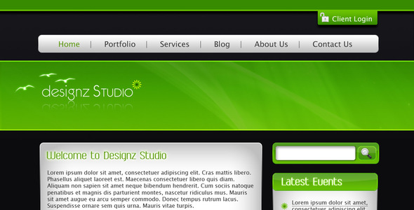 ThemeForest Green & Dark Business Template 23679