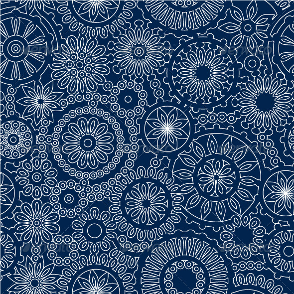 GraphicRiver White Lace Flowers on Dark Blue Seamless Pattern 5316283