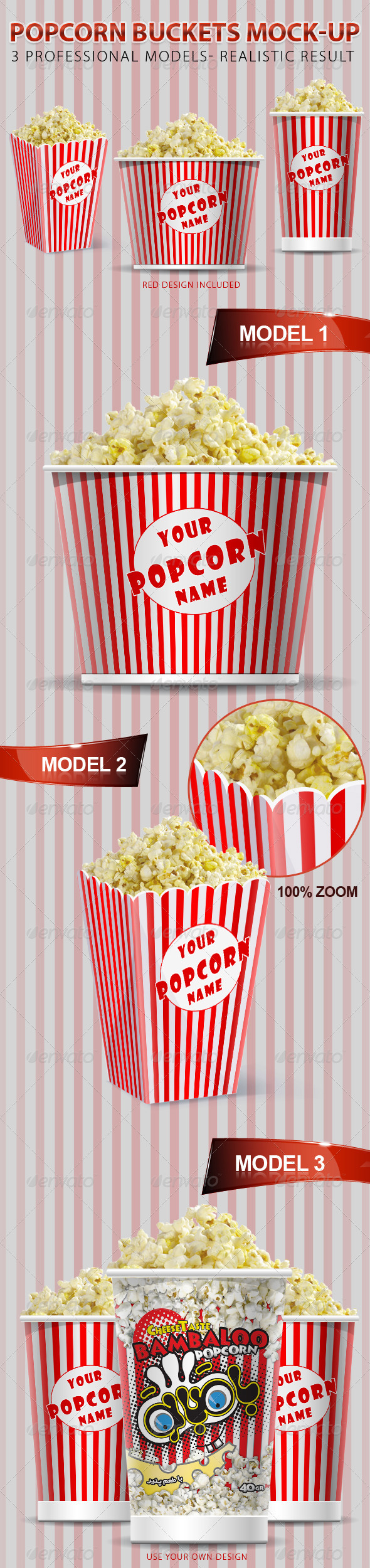 GraphicRiver Popcorn Buckets Mock-up 548294