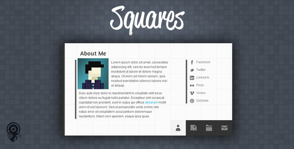 Squares - HTML5 vCard/Portfolio Template