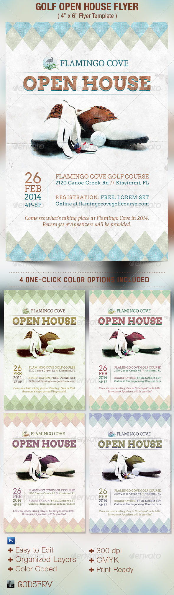 Golf Open House Flyer Template - Sports Events