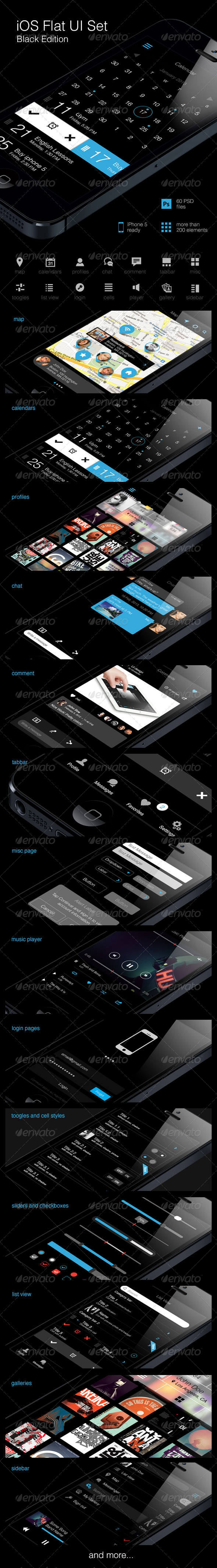 iOS Flat UI Set Black Edition Vol. 2 - User Interfaces Web Elements