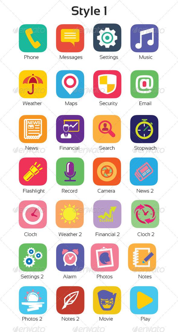 Flat Icons - iOS 7