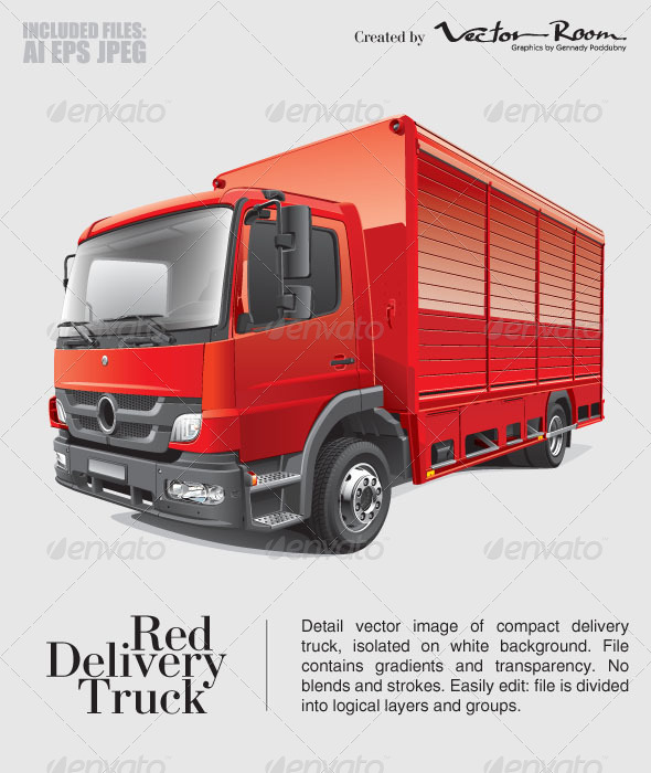 Red Delivery Truck - Vectors