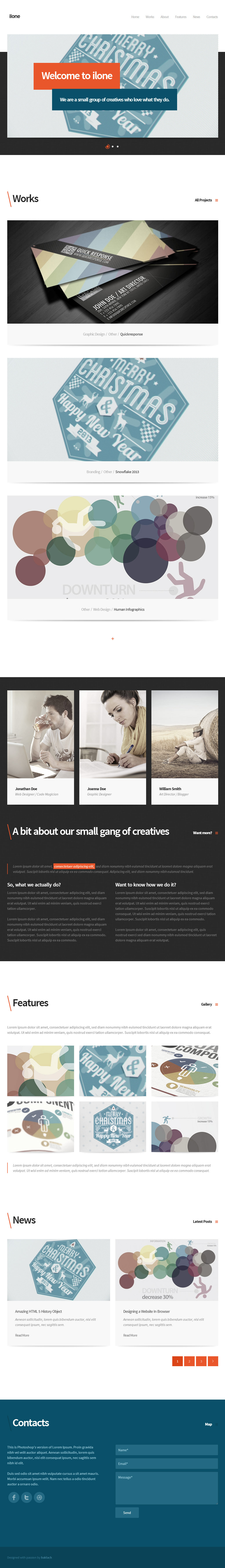 Ilone - One Page WordPress Theme - Screenshot 2. Home/Front page.