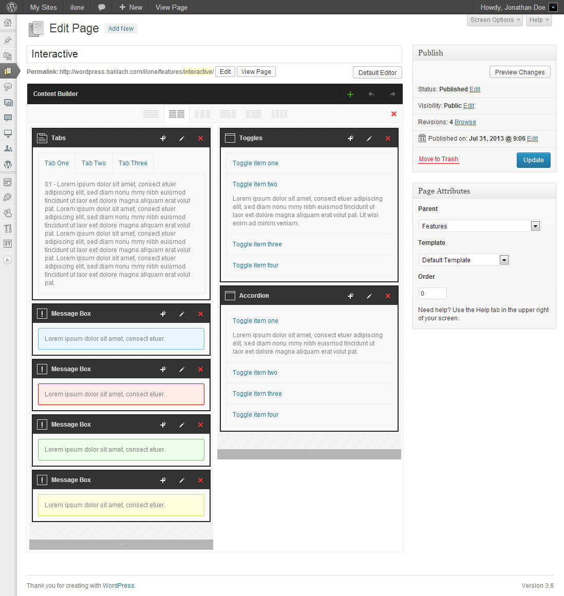 Ilone - One Page WordPress Theme - Screenshot 1. Admin screen of a sample page built with Content Builder.