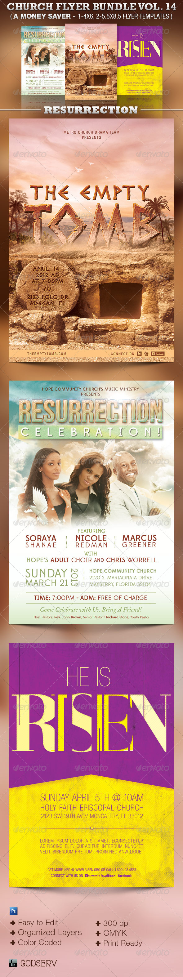 Church Flyer Template Bundle Vol 14: Resurrection - Church Flyers