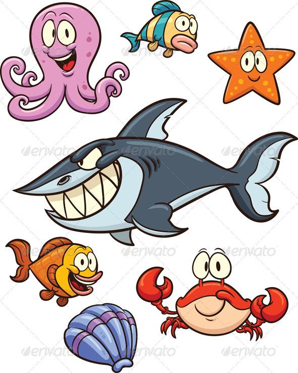 Sea Creatures Cartoon Sea Creatures Animals