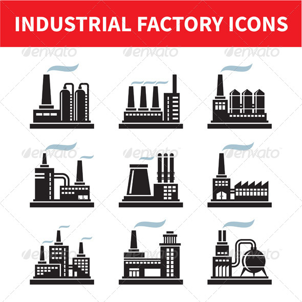 Industrial Factory Icons Set - Industries Business