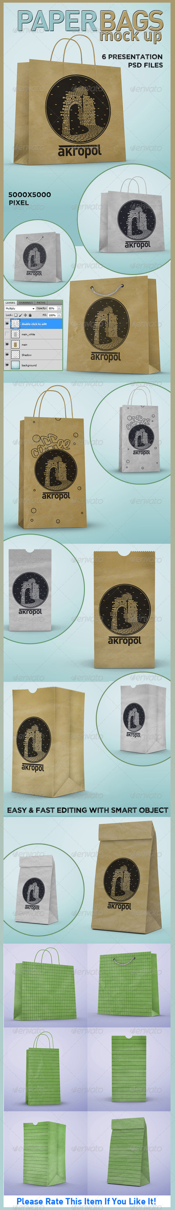 Paper Bags Mock Up - Product Mock-Ups Graphics