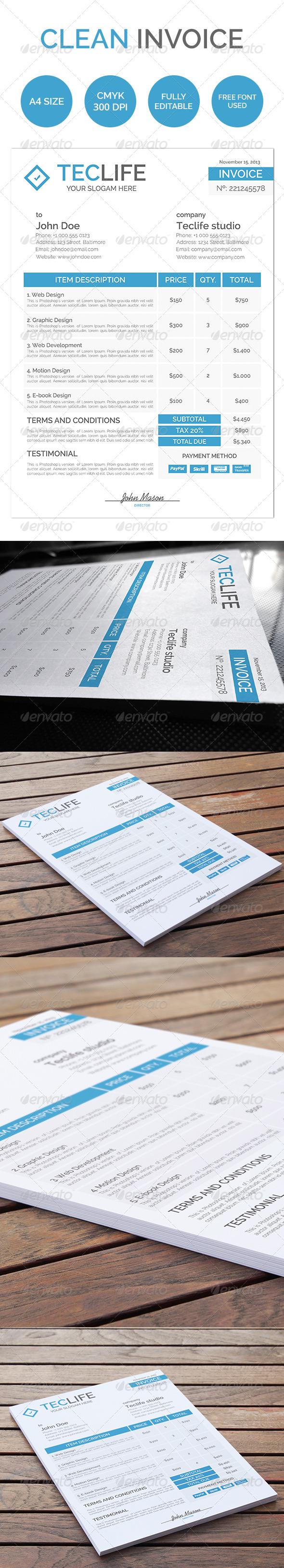 GraphicRiver Clean Invoice 5320137