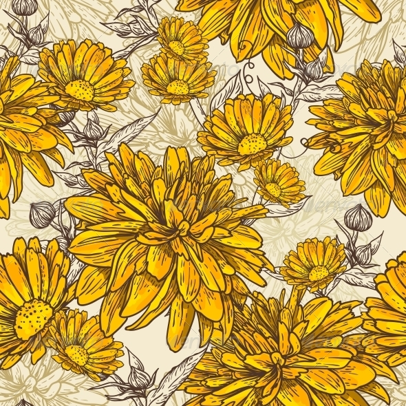 GraphicRiver Floral Seamless Pattern with Blooming Flowers 5320647