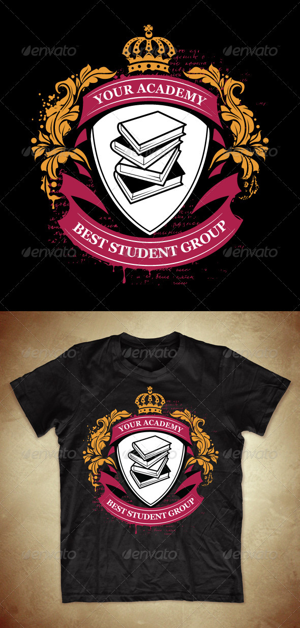 GraphicRiver Grunge T-shirt Design with Classic Academy Symbols 548557