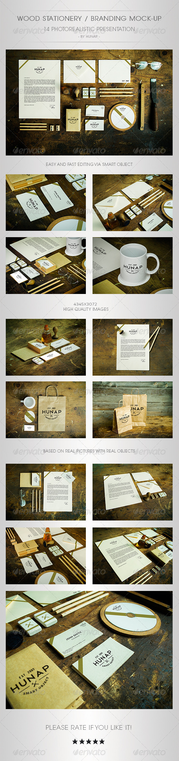 GraphicRiver Wood Stationery Branding Mock-Up 5321066