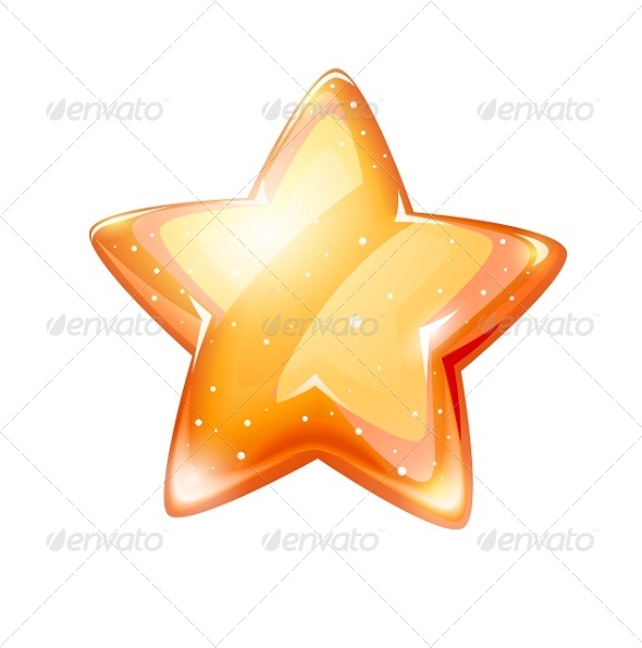GraphicRiver Magic Gold Glossy Star Isolated 5321498