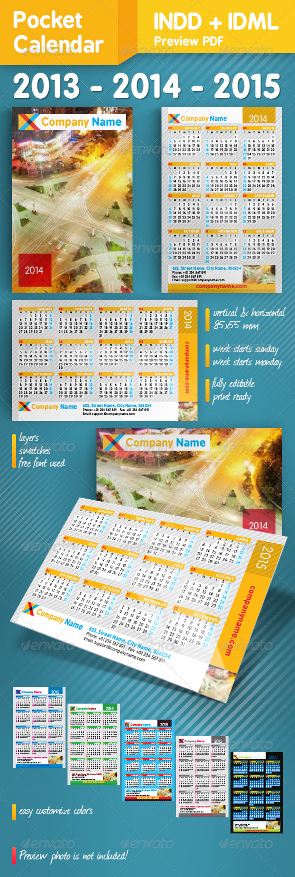 GraphicRiver Pocket Calendar Set 2013-2014-2015 5274478
