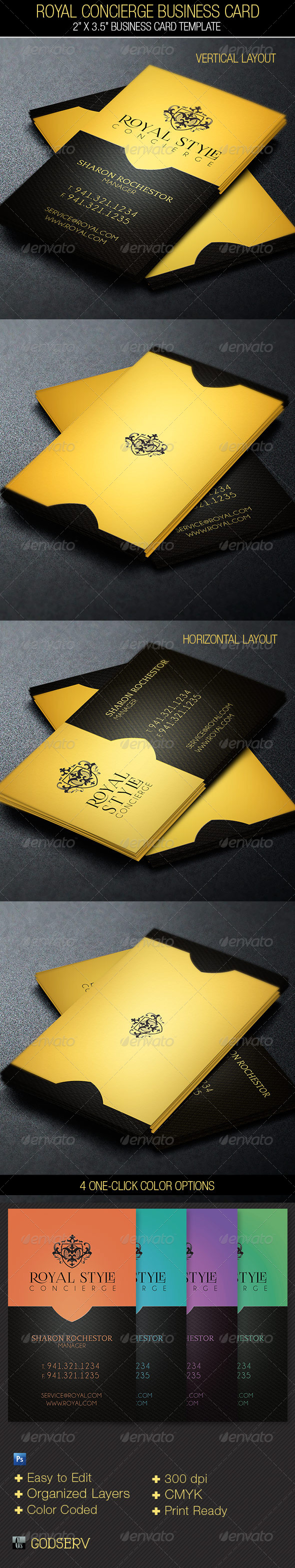 Modern Vertical Business Cards Royal concierge business card