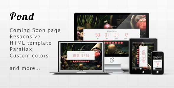 Pond - Responsive Minimalist Coming Soon Template