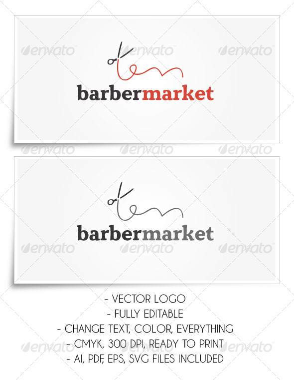 GraphicRiver BarberMarket Logo Template 5312593