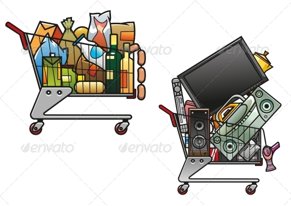 Shopping Carts with Goods - Retail Commercial / Shopping