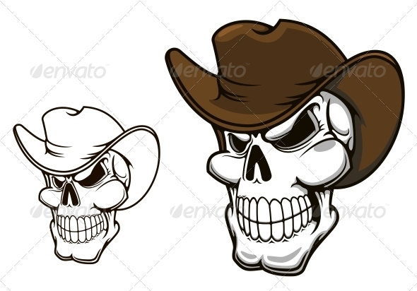 GraphicRiver Cowboy Skull in Hat 5323535