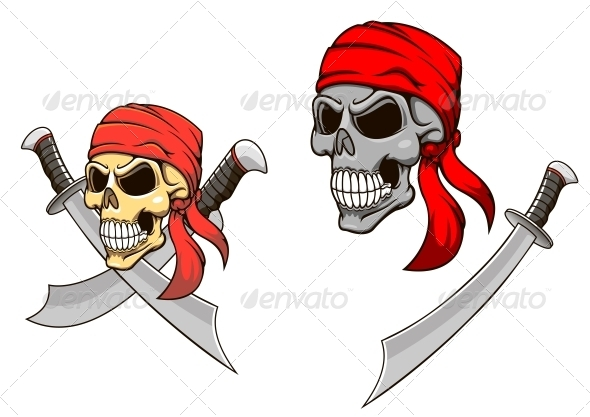 GraphicRiver Pirate Skull with Sharp Sabers 5323585