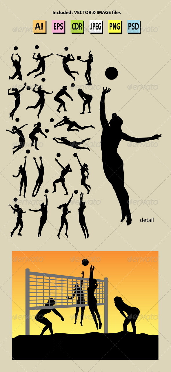 GraphicRiver Beach Volleyball Girl Silhouettes 5323655