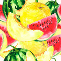 Watercolor seamless background with melon and watermelon  - PhotoDune Item for Sale