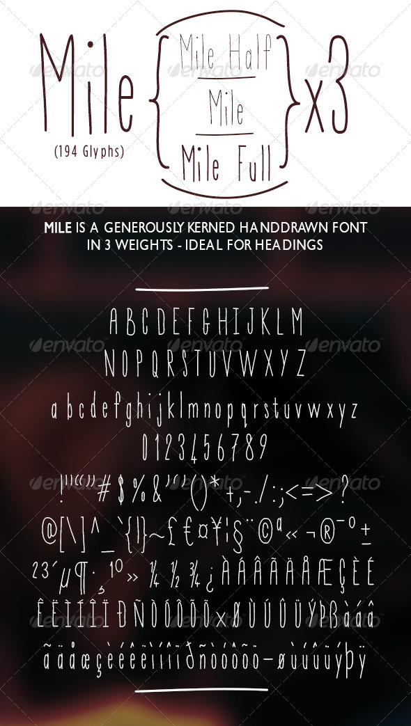 GraphicRiver Mile Hand-Drawn Font 5324035