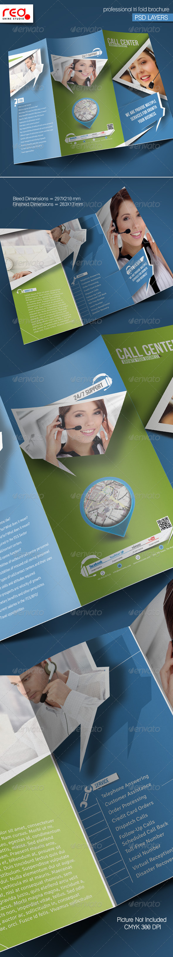 GraphicRiver Customer Support Trifold Brochure Template 5324354