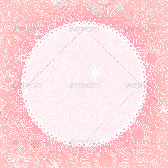 GraphicRiver White Frame on Lace Flowers in Pink and White 5324657