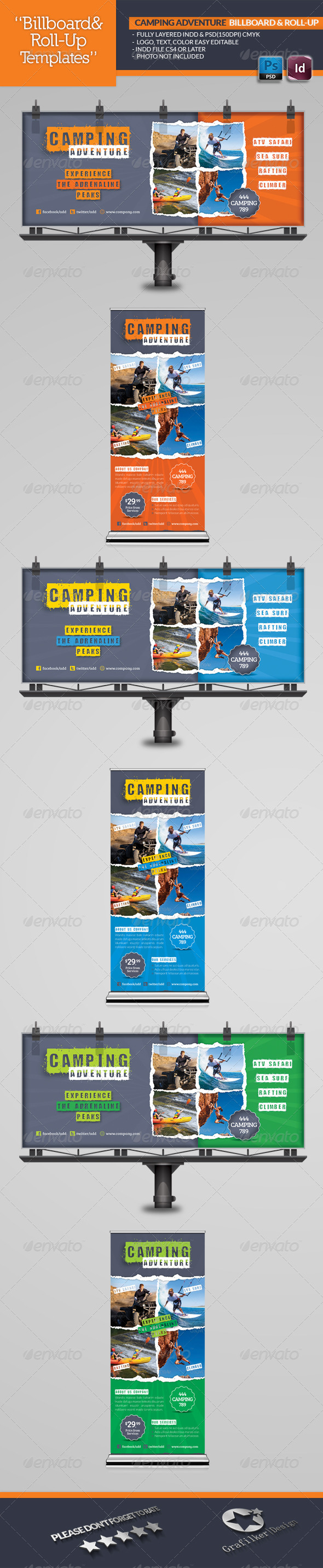 GraphicRiver Camping Adventure Billboard & Roll-Up Template 5244657