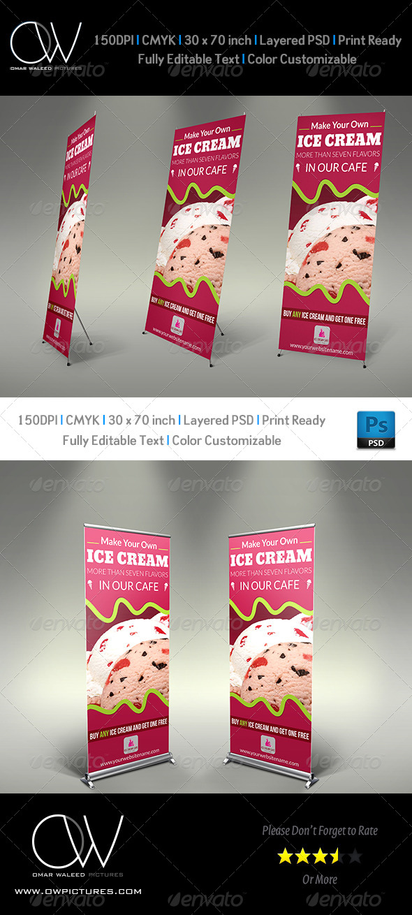 Ice Cream Rollup Signage Template