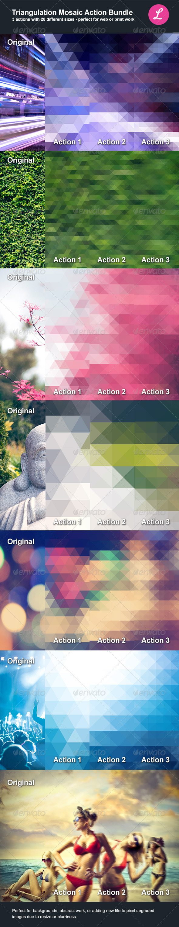 GraphicRiver Triangulation Mosaic Bundle Actions 5325461