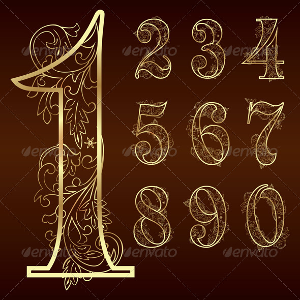 GraphicRiver Set of Vintage Floral Numbers 5325839