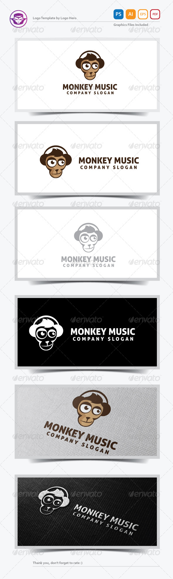 GraphicRiver Monkey Music Logo Template 5325919