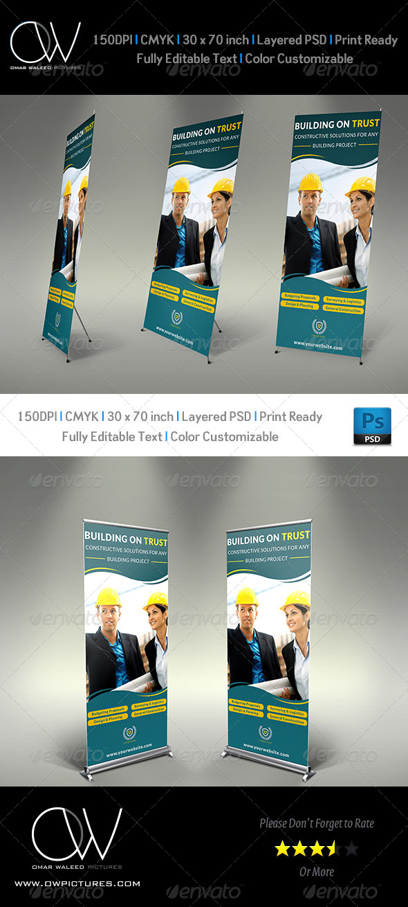 GraphicRiver Construction Business Signage Rollup Template 5326384