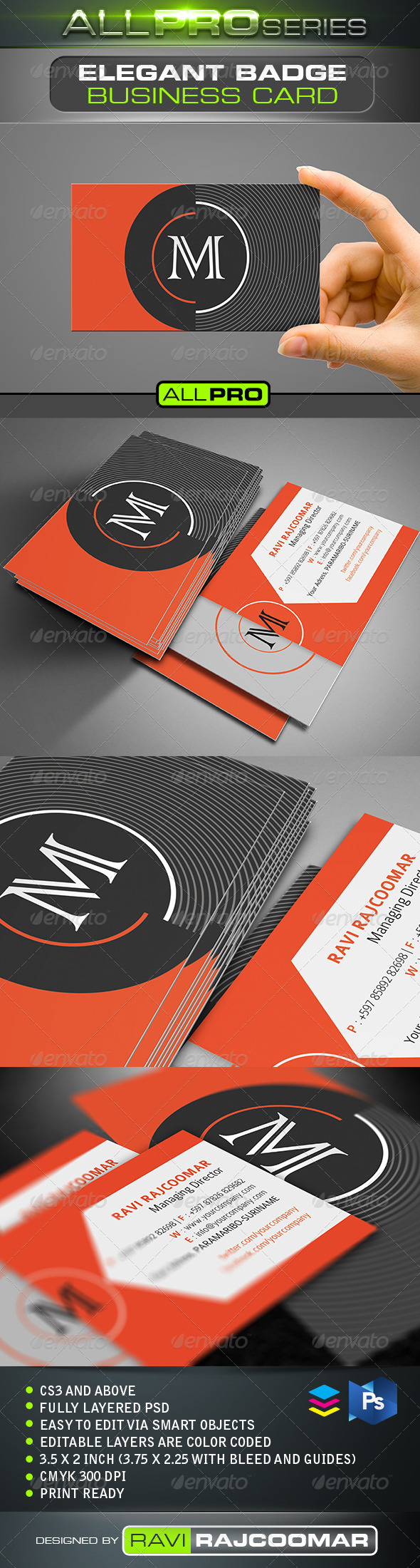 Elegant Badge Business Card - Business Cards Print Templates