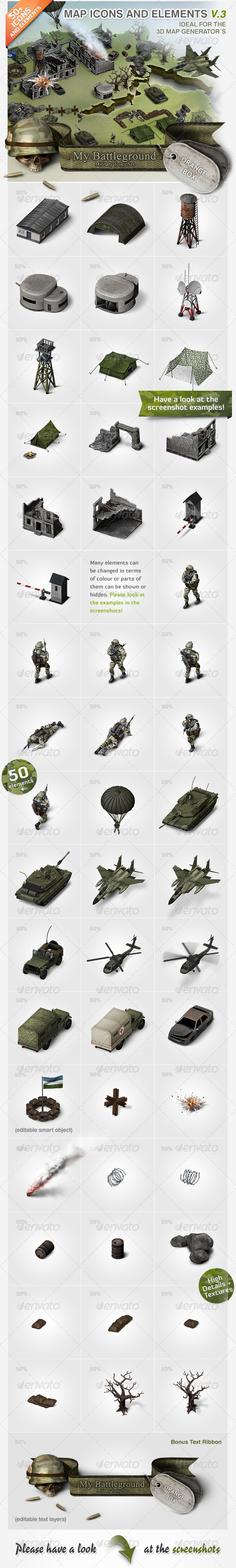 GraphicRiver Map Icons and Elements V.3 Military Set 5327342