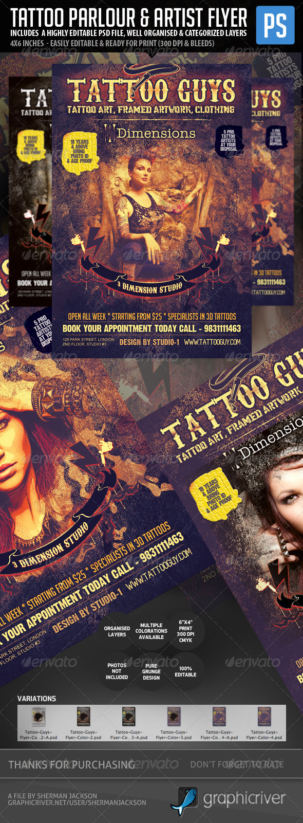 GraphicRiver Tattoo Artist & Tattoo Parlour Flyer 5328352
