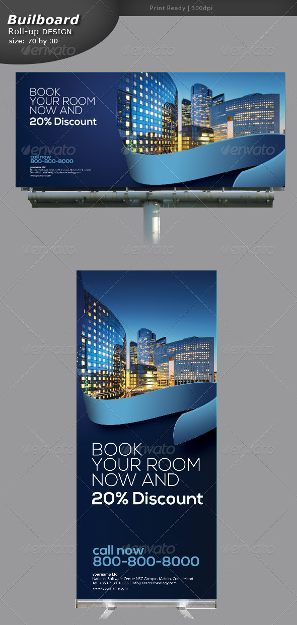 GraphicRiver Hotling Billboard and Roll-up Banners 5329067