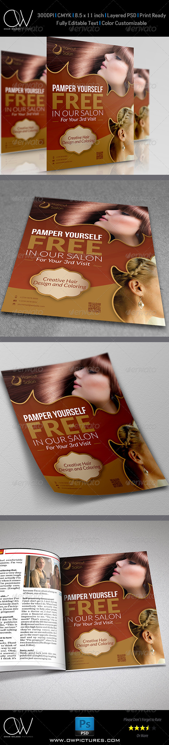 GraphicRiver Hair Stylist & Salon Flyer 5278120