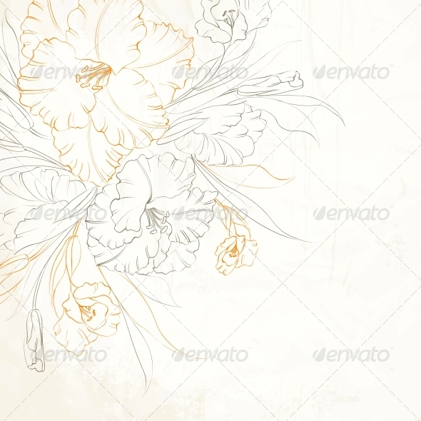 Floral Background with Hand Drawn Irises