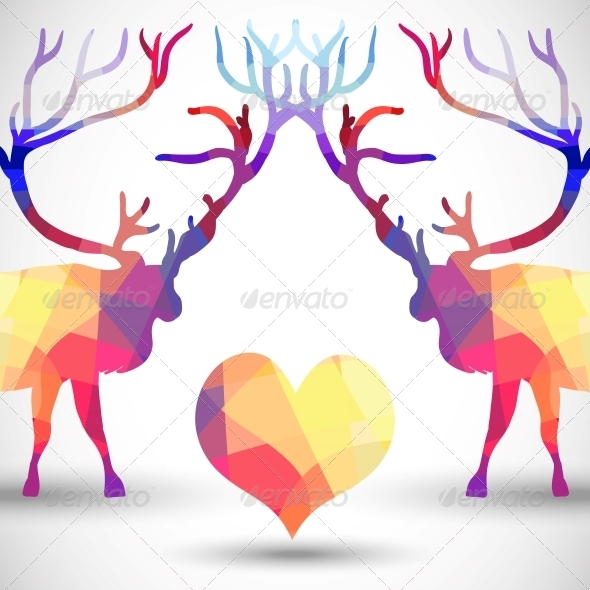 GraphicRiver Silhouette a Deer of Geometric Shapes with Heart 5329451