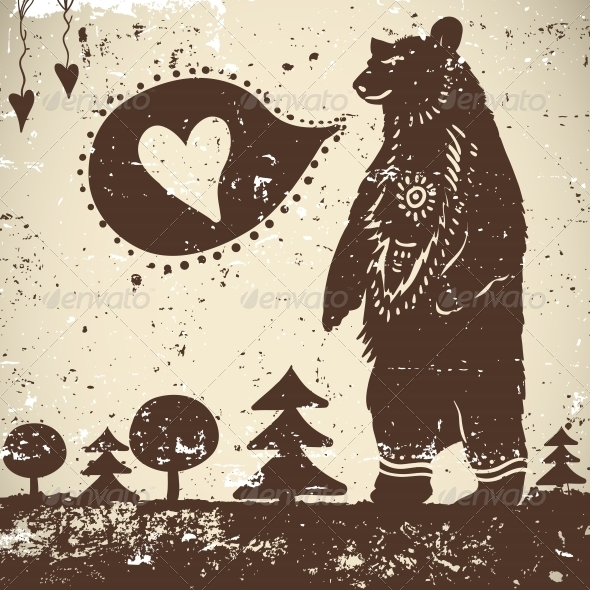 GraphicRiver Wild Animal Background Bear with a Heart 5329490