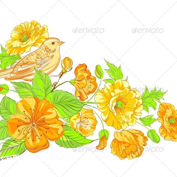 GraphicRiver Bird on Blossoming Sakura Branch 5329491
