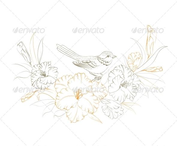 GraphicRiver Bird Sitting on Iris Flower 5329549