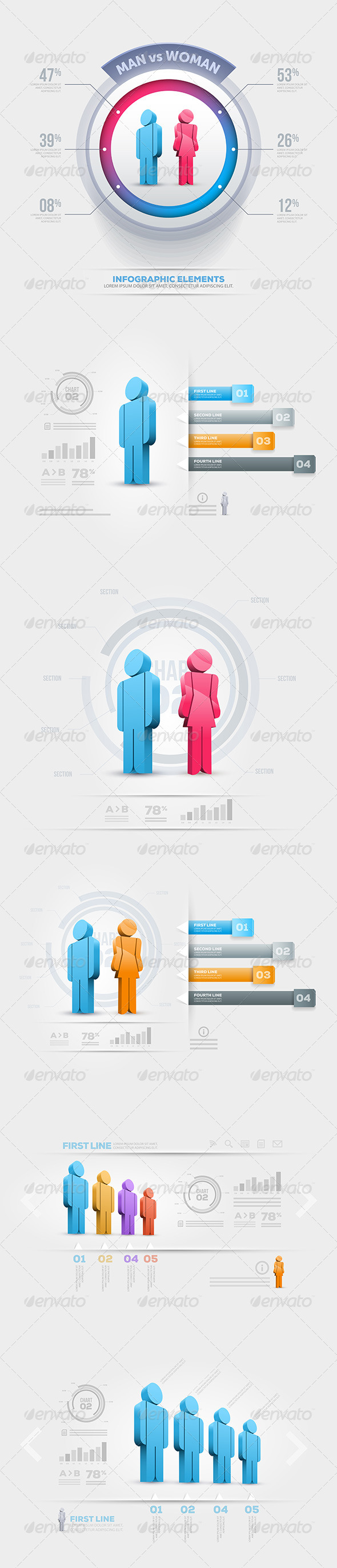 GraphicRiver Man And Woman Infographics 5329919
