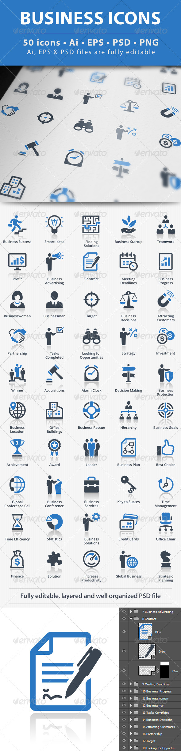 GraphicRiver Business Icons Blue Series 5330003