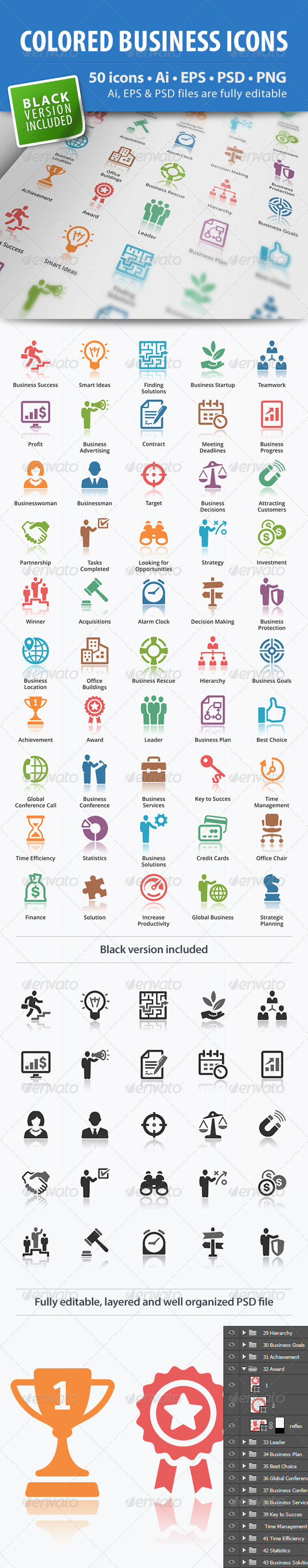 GraphicRiver Business Icons Colored Series 5330031